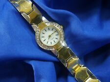BLAIR White Rhinestone silver & gold tone BRACELET Watch fresh battery 720 A15