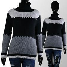 Maglione Donna Collo alto Dolcevita maniche lunghe sciolto maglia Nero e Grigio