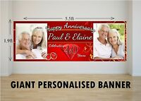Personalised GIANT Large 40th Ruby Wedding Happy Anniversary Banner N30