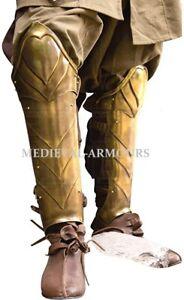 Medieval Illumine Leg Greaves Brass Medieval Leg Arm Guard