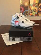 Size 10 New Air Jordan 4 Retro IV White Cement OG Black 840606-192 DB Lightning