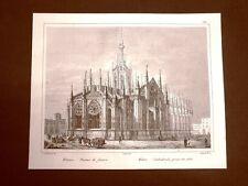 Milano Il Duomo visto di fianco Incisione su rame all'acquaforte del 1835 Audot