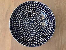 Bunzlauer Keramik Schüssel Groß  blau/weiß/braun ø 30 cm Dekor 41