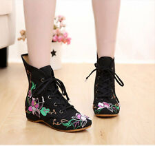 Womens Casual Chinese Embroidered Floral Boots Dance High-tops Flat Cloth Shoes