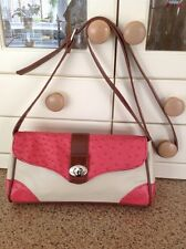 GREAT SUZY SMITH CREAM, RED & TAN SHOULDER BAG WITH ADJUSTABLE STRAP USED TWICE