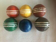 Croquet Balls 3 Stripe Lot of 6 – 1 Mismatched Vintage