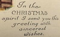 Antique Christmas spirit Winter Bed Bedroom fireplace Room Post Card Wishes