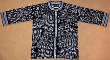 Bob Mackie Cardigan Sweater - Blue, Black, Floral - BRAND NEW