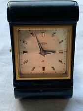 More details for look rare vintage angelus black leather square faced folding travel alarm clock