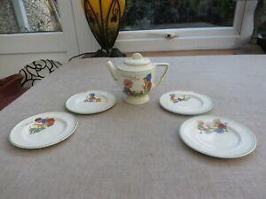 Art Deco china Biltons Nursery Teapot & 4 plates Rare unusual set