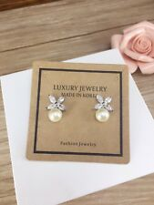 Silver Crystal Stud Earrings with white pearl