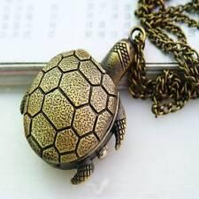 Charming Retro  Vintage Bronze Turtle Pendant Necklace Quartz Chain Pocket Watch
