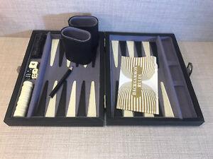 Backgammon Vintage Classic Faux Leather Black Case Felt Lined Travel Game Rare