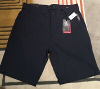 "Men's Montfort Tech Stretch Formatic Fit Blue Size 33 Flat Front Shorts 10"" In"