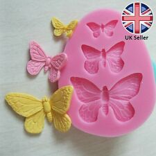 3 Butterfly shaped Silicone Mould, Cake Icing Decoration, 3D Butterflies Insect