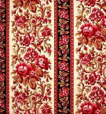Classic Elegance Stripe  Floral Cotton Quilt Fabric Red Rooster  BFab