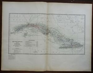 Cuba Carribean Island Isle of Pines Havana 1914 C.S. Hammond scarce large map