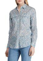 Lauren Ralph Lauren Top Cotton Blouse Button Down Floral Blue Sz L NEW NWT 382
