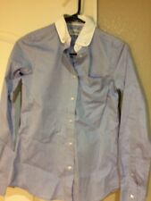 COACH BLOUSE  SIZE 00--BUTTON FRONT--BUTTON DOWN COLLAR--BLUE---FREE SHIP--NEW