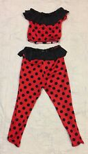 Curtain Call Costume Dance USA Child Sz Lge Red Black Polka Dots 2 pc Halloween