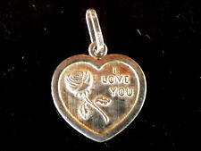 Sterling Silver 930 Pendant Necklace Heart I Love You 16MM Jewelry Handmade Nos
