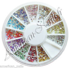 1 ROUE de strass RONDS IRISES déco d'ongles Nail Art 12 couleurs 1,5 mm