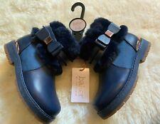 Baker by Ted Baker Navy Girls Faux Fur Boots Size 11 UK / 29 EU BNWT RRP £40