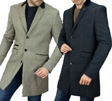 Mens Tweed Herringbone Peaky Blinders Vintage Long Overcoat Trench Coat Jacket