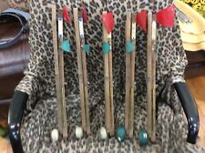 New listing 5 Vintage Wood Double Flag Ice Fishing Tip Ups Brass Fishcrafters Reels