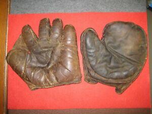 2 Vintage baseball gloves / mitt (crescent 1st and full-web fielders)