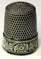 """Antique Simons Brothers Co. Sterling Silver Thimble  """"Flowers & Leaves""""  C1900s"""
