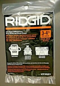 RIDGID High-Efficiency Dust Bags Wet Dry Vacuum Filters VF3501 Pack of 2 Sealed