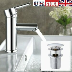 Modern Chrome Bathroom Sink Basin Mono Mixer Taps Faucet With Pop up Waste Plug
