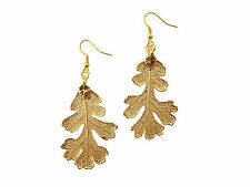 French Wire Dangle, Hook Earrings Us Lacy Oak Real Leaf 24k Gold Dipped/Plated