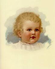 Vintage Print Victorian Artist IDA WAUGH Portrait Blonde Curly Hair Baby Girl
