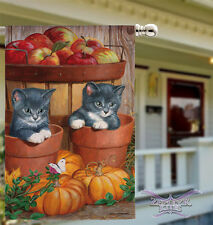 Barrel of Apples house flag Evergreen 29X43 cat flag kittens flag