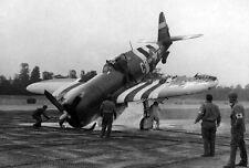 WWII B&W Photo P-47 Thunderbolt Damaged D-Day WW2 /5073