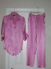 Women's Vanessa Riley of London Pink silk Blouse Pant outfit Size S-M MINT