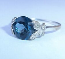 9ct White Gold London Blue Topaz & Diamond Butterfly Ring, Size O