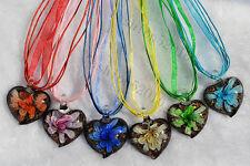 FREE Wholesale 6ps Heart Flower In Lampwork Glass Pendants Silk Necklace