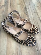 New J Crew Collection Double-strap Flats in Leopard Calf Hair Sz 7.5 F4861