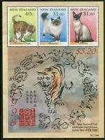Neuseeland New Zealand Block 74 postfrisch MNH Motiv Katzen Cats China 1998