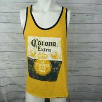 Corona Large Tank Top Mens Yellow Graphic Beer