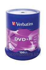 Verbatim DVD+R 100 Pack Spindle 16x 4.7GB Blank DVDs Media Disks