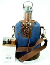 Legacy-A Picnic Time Brand Brass Growler W/ Navy Canvas Lace Up Tote 64oz