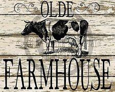 Primitive Cow Dairy Farmhouse Farm Chic  Print 8x10