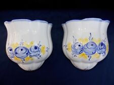 Pair Hand-Painted~Ceramic~Wall Pockets~Vases~White~Blue~Vestal~Alcobaca~Portugal