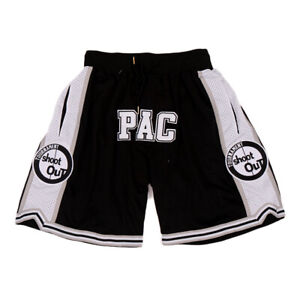 Above The Rim Shoot Out 2 Pac Basketball Shorts Stitched Black With Pockets