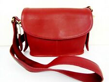 Vintage Coach Small Red  Leather Crossbody Equestrian Bag #9801