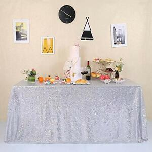 "GFCC Silver Sequin Tablecloth - 60""x80"" Rectangle Table Cover Wedding Party"